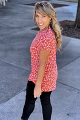 Flowers On The Wall Short Sleeve Buttery Soft Crew Neck Top, Coral
