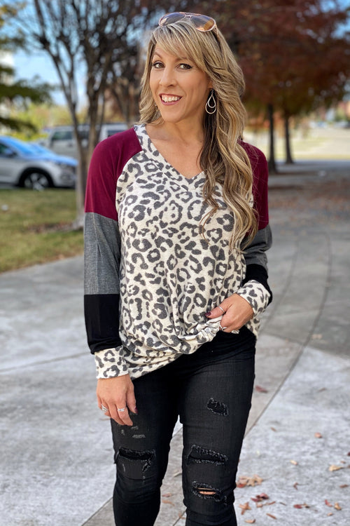 She's So Perfect V Neck Long Sleeve Color Block Top with Knotted Hem