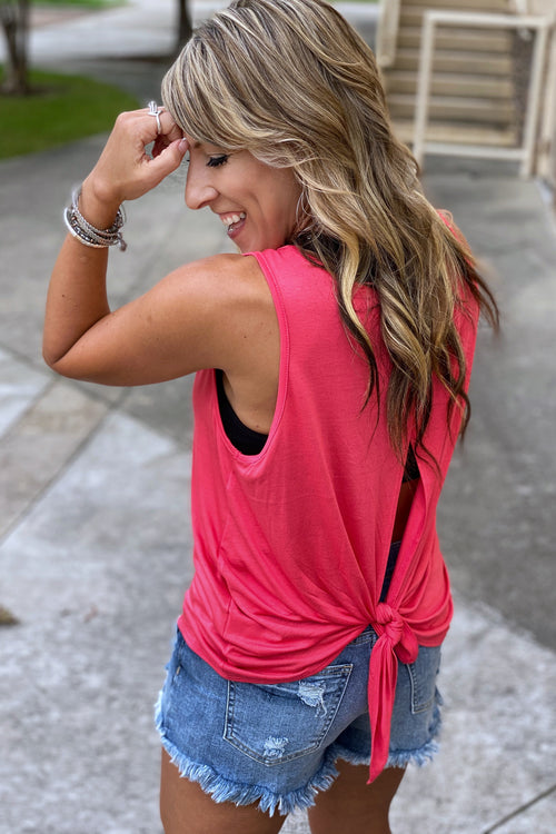 Rounded Neck Loose Fit Back Slit Top with Self Tie, Coral S-L
