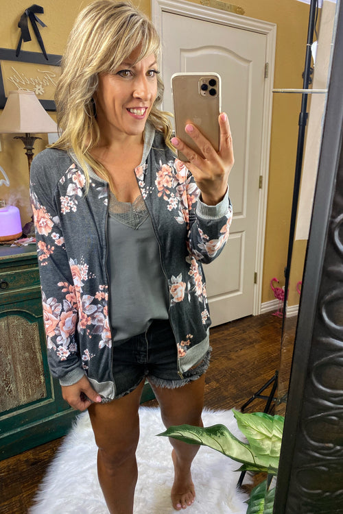 Charcoal Floral Vintage Zip Up Bomber Jacket with Side Pockets, S-XL