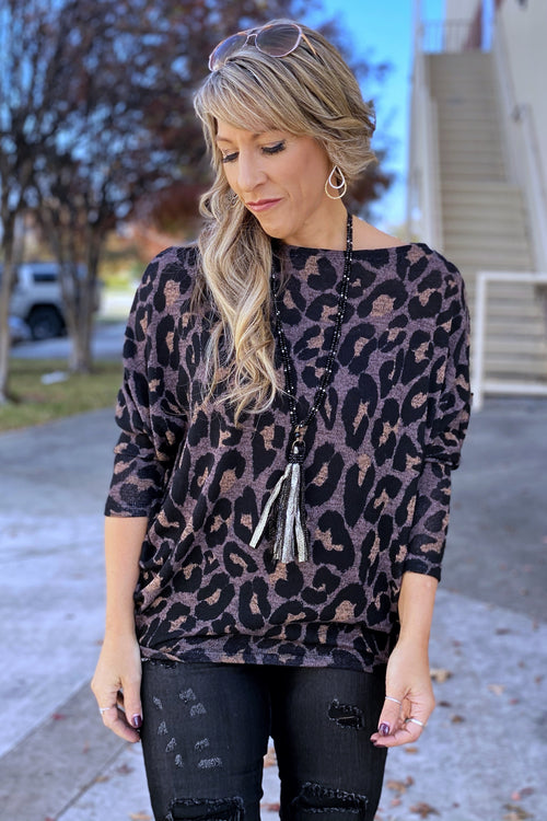 Stuck With U Round Neck Dolman Sleeve Animal Print Knit Top