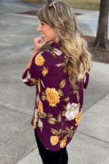 Elastic Love Long Sleeve Mandarian Neck Line Floral Tunic, Plum