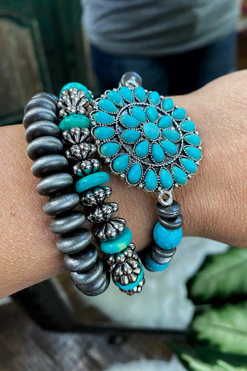 Stretch Fit Turquoise Beaded Stack Bracelet Set