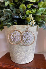 All Alone Metal Ring with Sunburst Inspired Texture dangle earrings, Mix