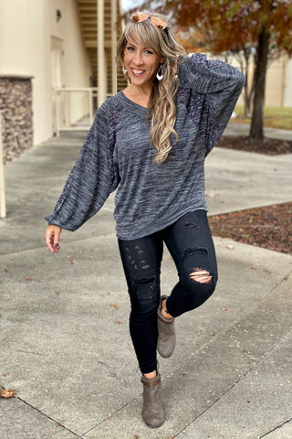 Give Me Your Love Loose Fit V Neck Long Sleeve Top