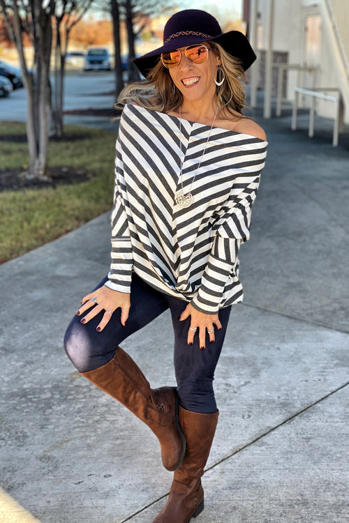 Wild Child Long Dolman Sleeve Ribbed Striped Off Shoulder Top with Center Waist Gathered Detail