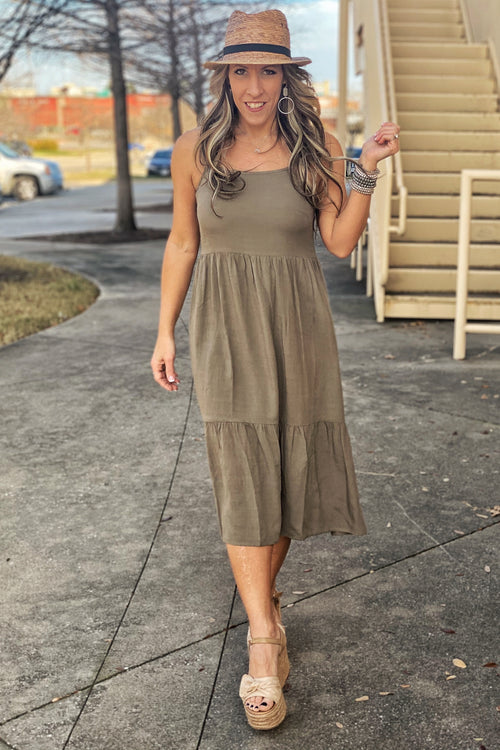 The Right Stuff Baby Doll Tiered Maxi Dress with Adjustable Straps, Olive S-L