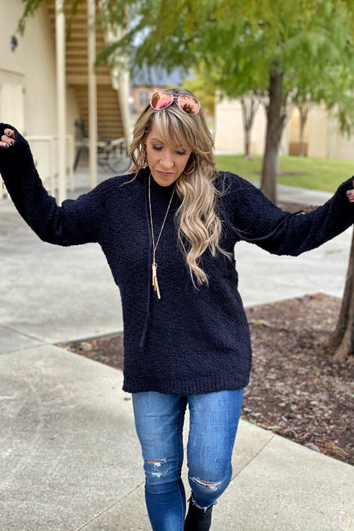 Last Friday Night Long Sleeve Chunky Popcorn Knit Sweater / Hoodie, Black