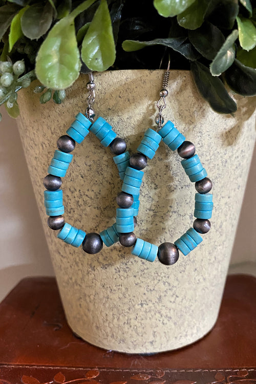 Fuego Silver & Turquoise Hook Earrings