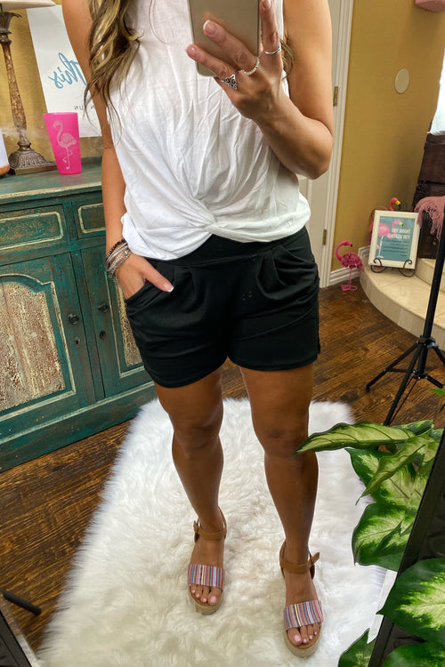 Mid Rise Ruched Shorts with Side Pockets, Black