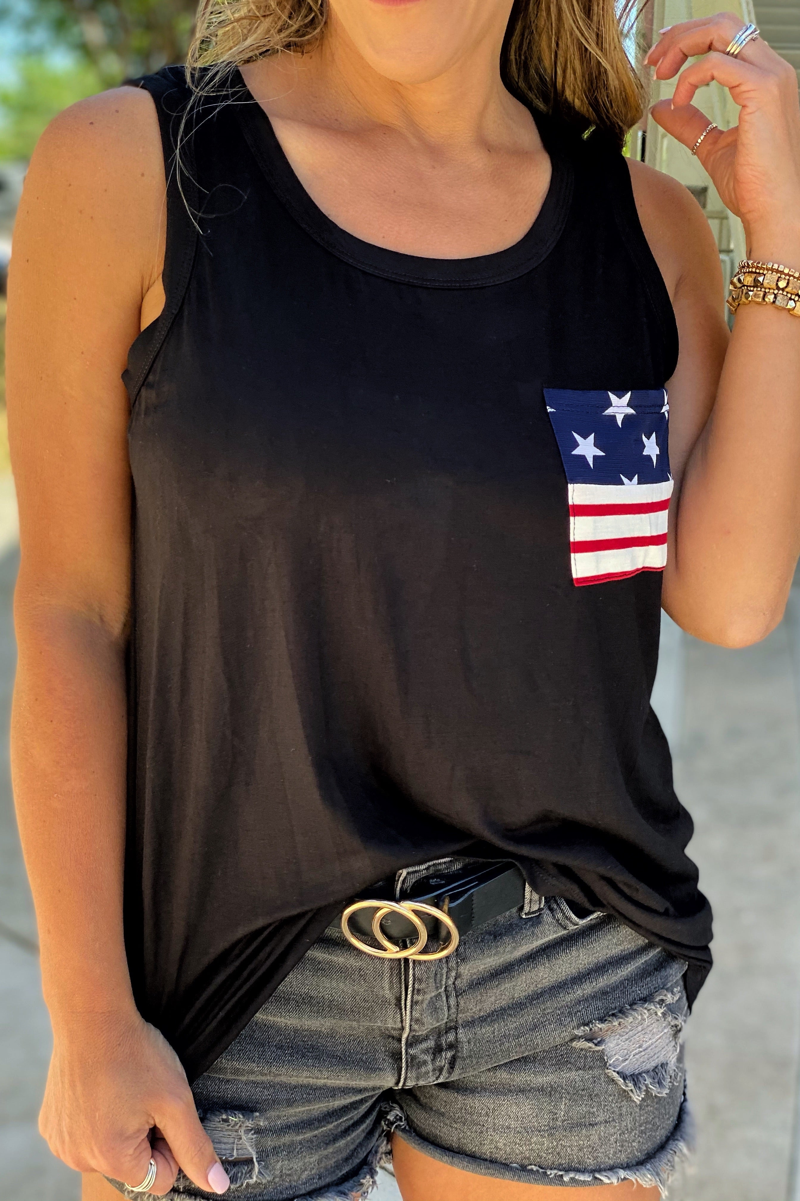 Good Days Sleeveless Round Neck Solid Tank with Star and Stripe Printed Front Pocket Detail, Black