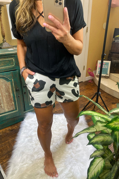 BOLD Animal Print Lounge & Chill Shorts with faux drawstring and pockets, Cream & Mocha Pops, S-XL