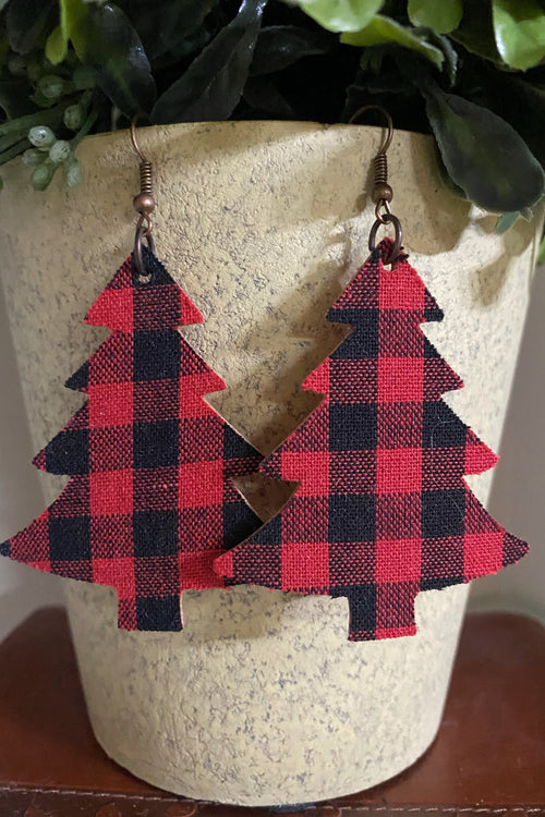About Right Buffalo Plaid Tree Earrings