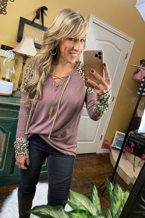 Everybody Wants Some Lace Up V neck Color Block Sleeve Long Sleeve Top, Deep Plum