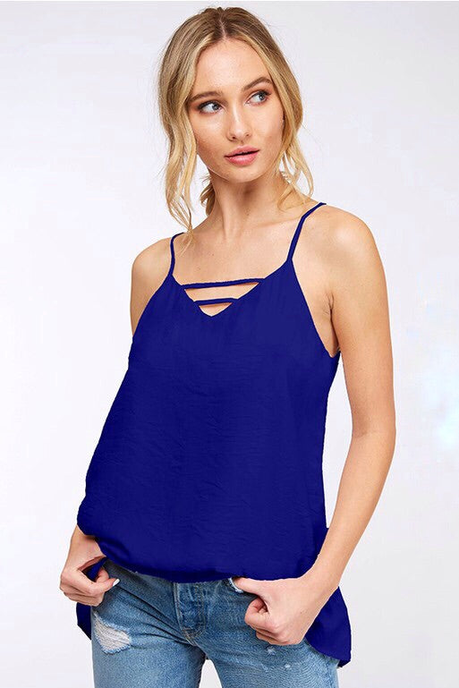 Royals Solid Woven Cami Top with Front & Back Cutout Detail, Royal Blue