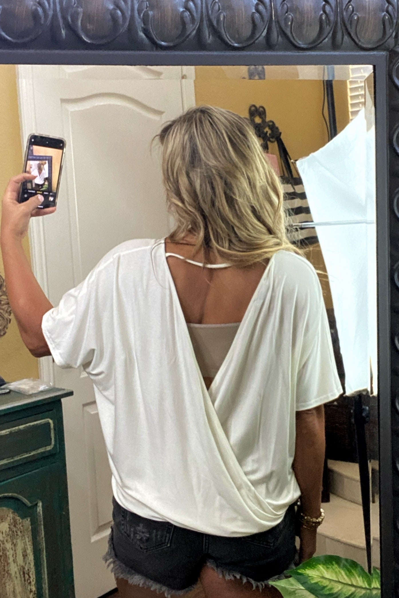 Last Kiss Flowy & Flattering Short Sleeve Surplice Top with Open Back, White