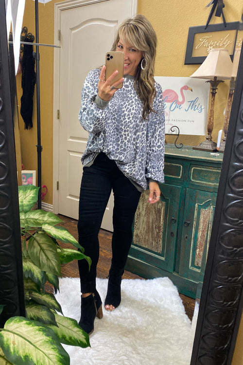 Long Sleeve Animal Print Pullover Top with Raw edge Detail