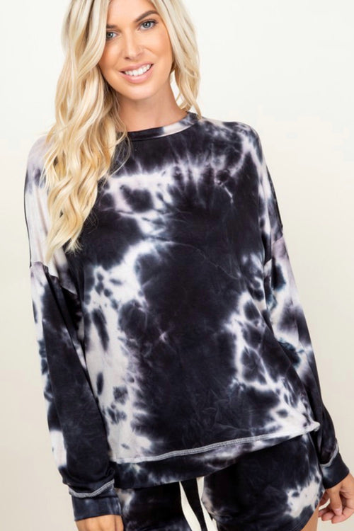 a.Gain Tie Dye Pullover Sweatshirt with Crew Neck and Banded Hem, Black