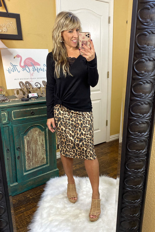 Uptown Girl Animal Print Skirt with Banded Waist & Pockets, Tan