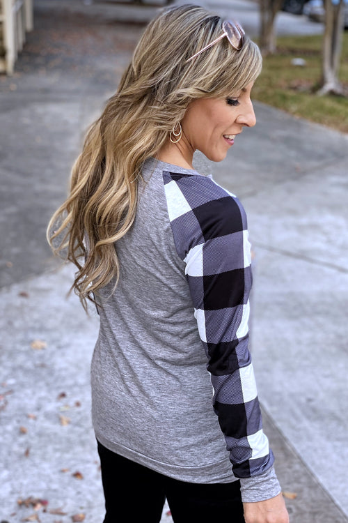 The Zone Plaid Checker Sleeve Glitter Pocket Long Sleeve Top, Gray, Black & White