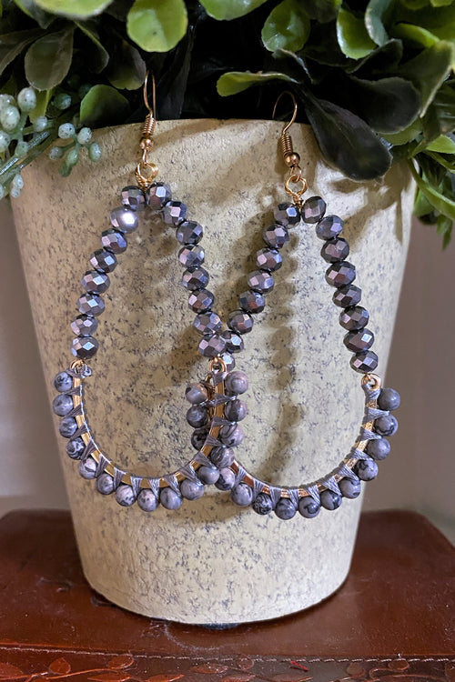 Crystal Bead Statement Earrings, Gray