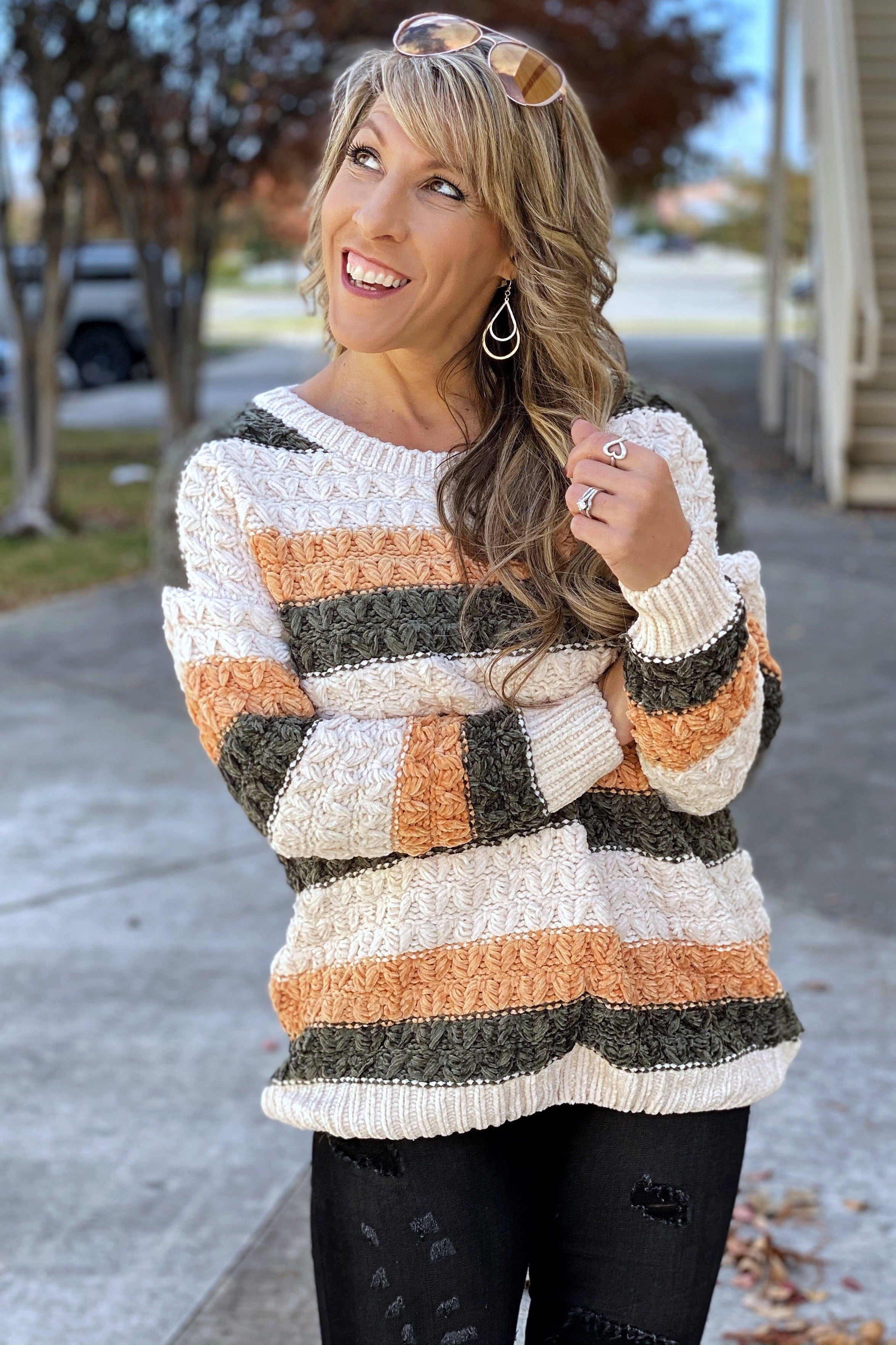 Can't Stop The Feeling Striped Thick Knit Sweater Top