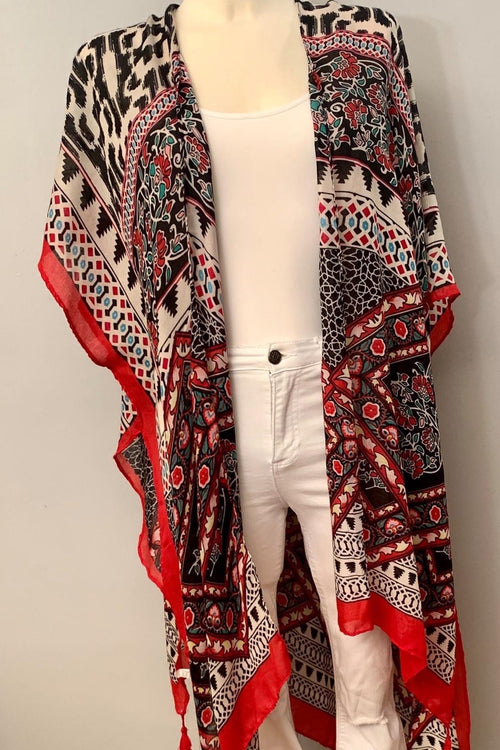 Print Inspired Airy Kimono With Side Slits, One Size Fits Most