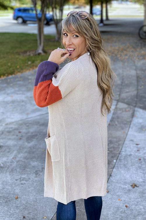 Stay With Me Color Block Sleeve Light Knit Cardigan with Deep Pockets, Beige