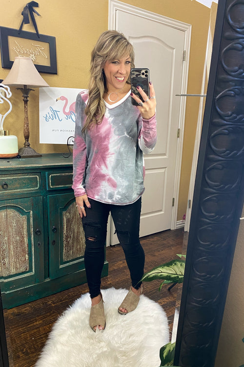 This Is What You Came For Long Sleeve Tie Dye Knit Top with V Neck and Reverse Stitching