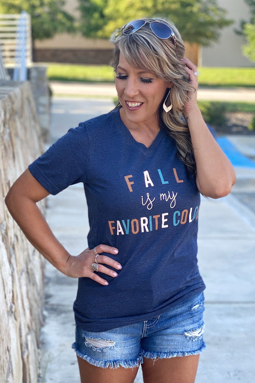 My Favorite Color is Fall Bella V Neck Tee, Navy