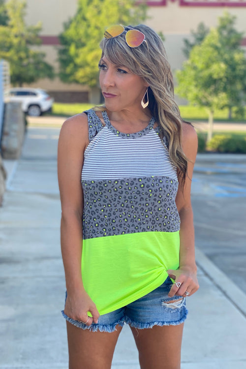 Bold Animal Print Color Block Halter Tank Top, Neon Lime, S-XL
