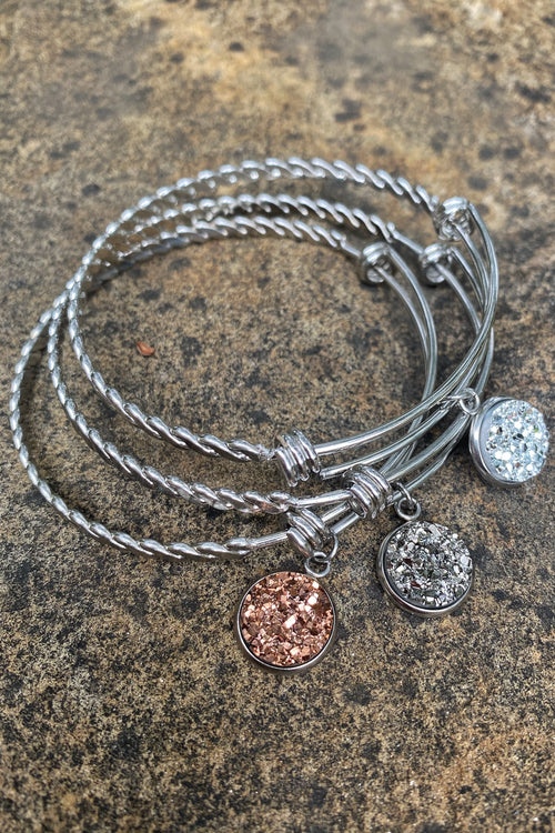 Inspired Expandable Bracelets Adorned with Round Druzy Stone, 3 Color Choices -Silver / Gun Metal / Rose Gold