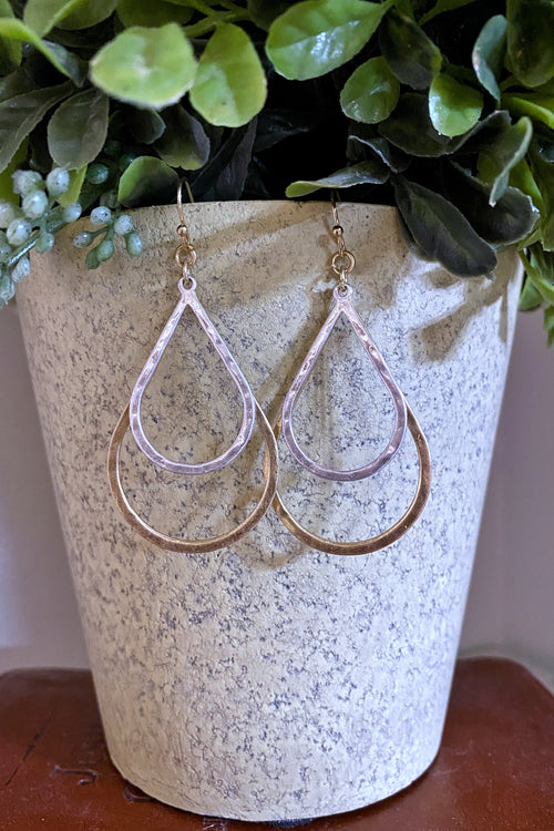 Saturday Night Double Open Teardrop Dangle Hook Earrings, Silver & Gold