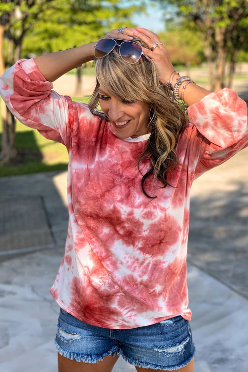 More Tie-Dye Love French Terry Round Neck Puff Sleeve Top, Blush, S-XL