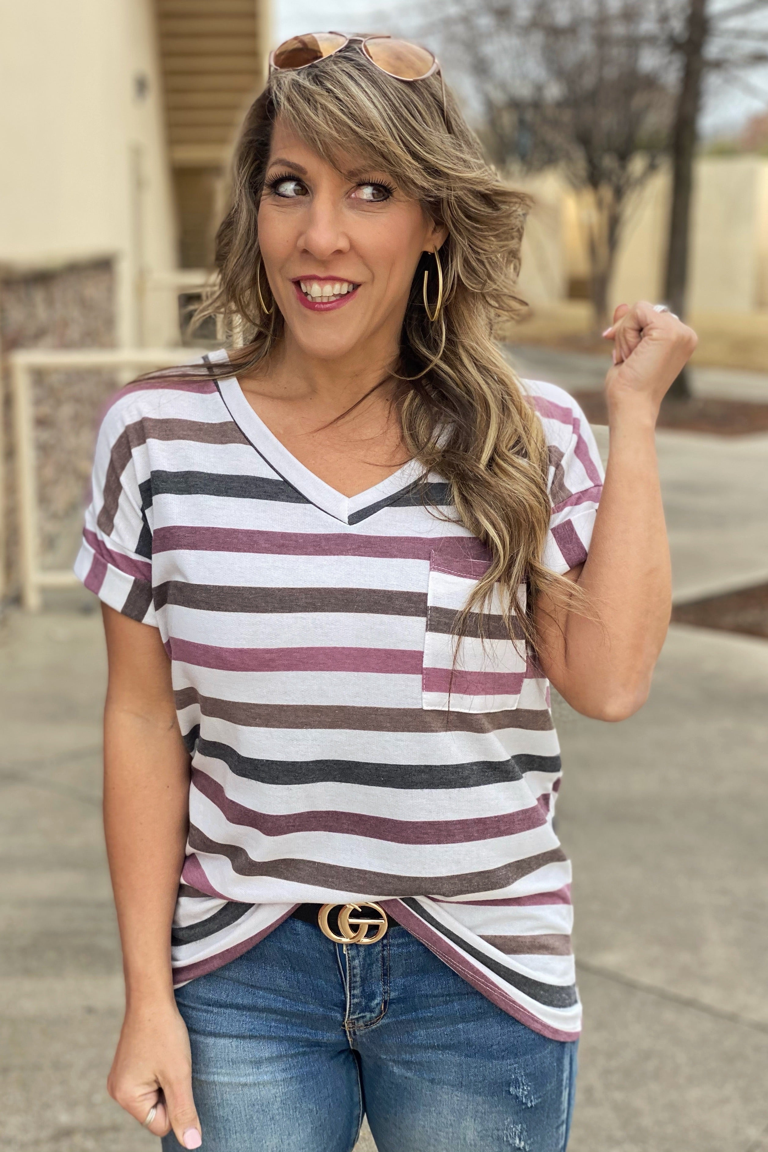 All My days Burgundy Relaxed Fit Boyfriend Pocket Tee, Striped