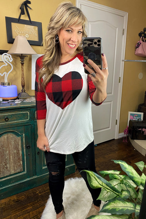 Love Shack Three Quarter Sleeve Round Neck Plaid Heart Top