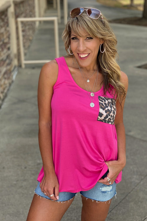 Ready For It Sleeveless Round Neck Solid Tank with Animal Print Pocket Detail, Pink