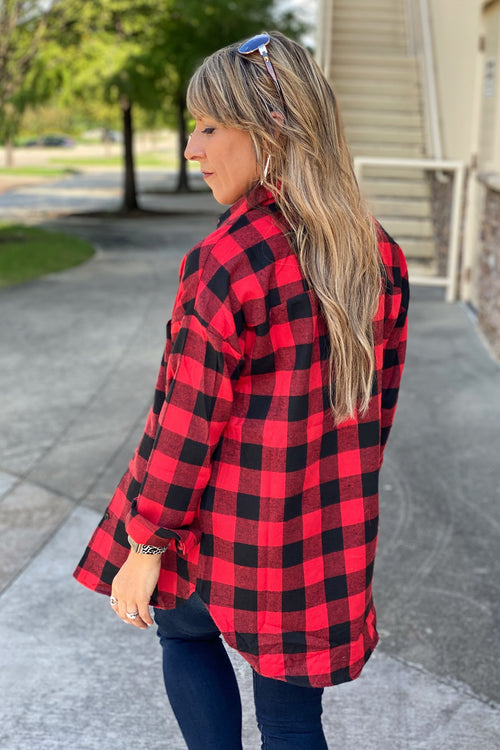 Get Ready Standard Plaid Flannel Button Up Shirt, Black & Red
