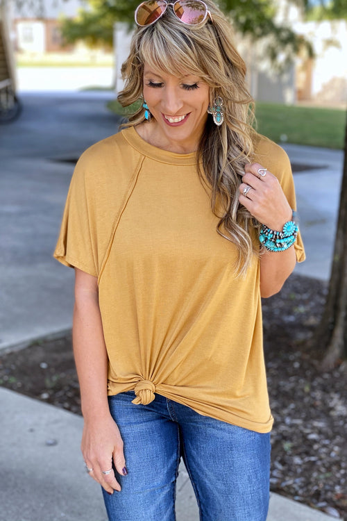 Heartbreaker Boyfriend Fit Crew Knit Top with Exposed Stitch Details, Mustard