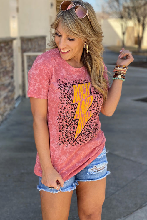 Thunder Rock and Roll on Strawberry Daiquiri Acid Wash Tee with Animal Print Background