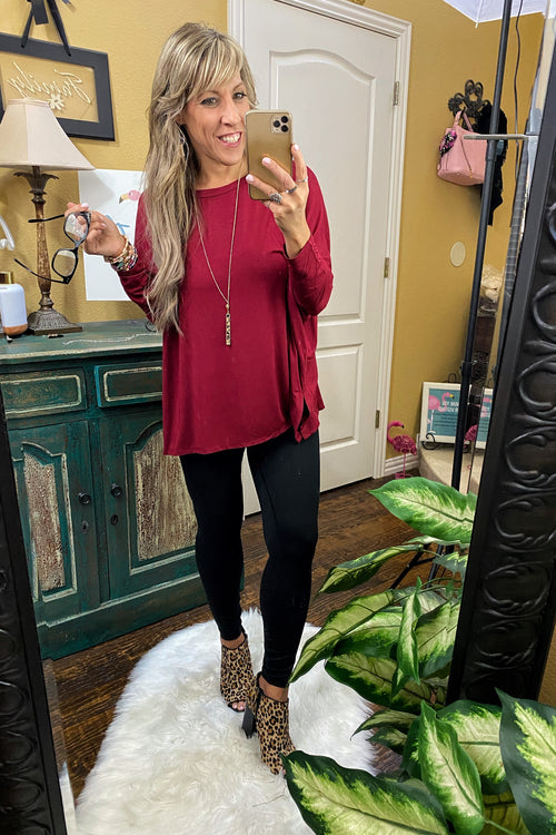 Meant To Be Dolman Sleeve Round Neck Oversized Top with Side Slits, Burgundy