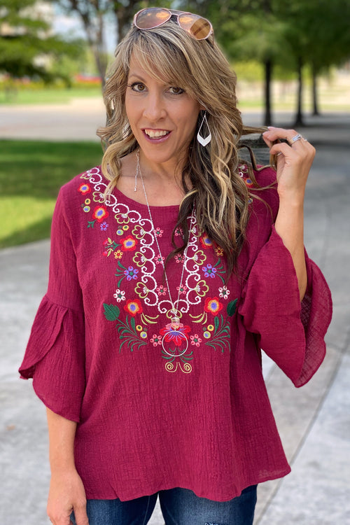 Floral Embroidered Tulip Bell Sleeve Top with Split Hem, S-L, Burgundy