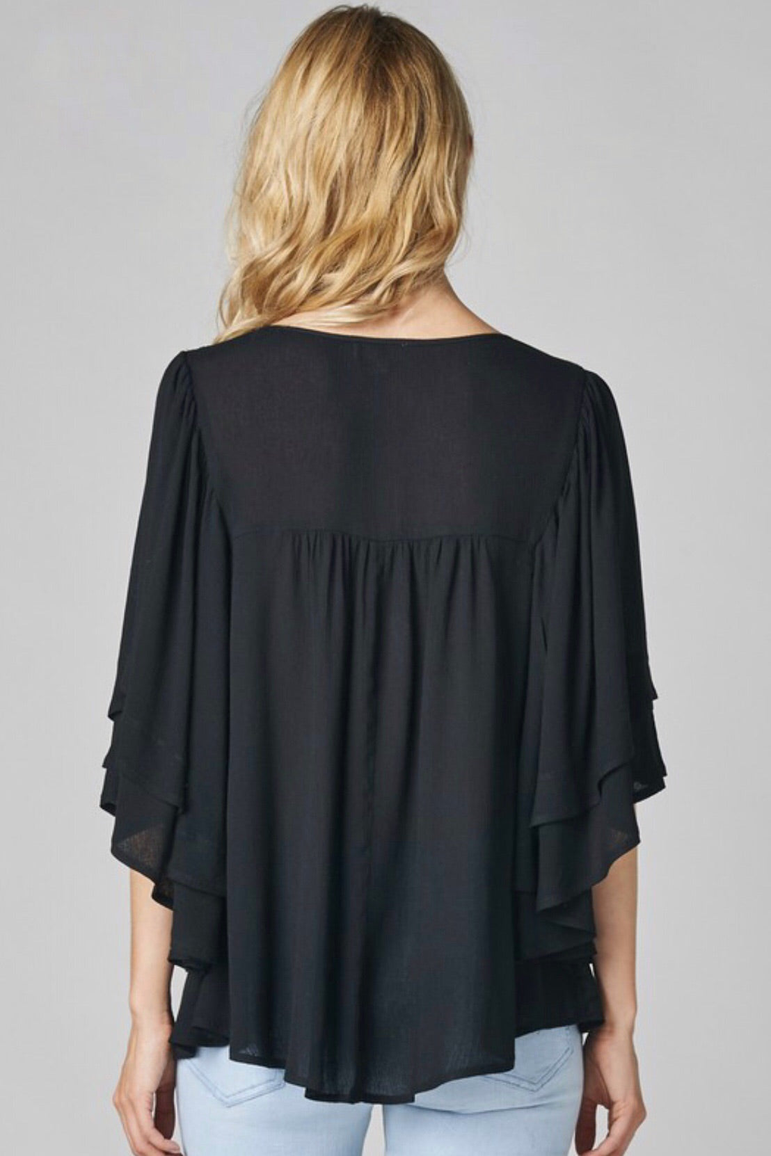 Just A Season Lace Trim Dolman Sleeve Peasant Top with tassel ties, Black