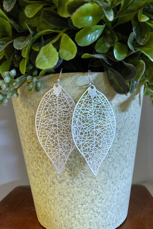 All Alone Leaf Shape Filigree Metal dangle earrings, Silver