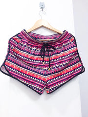 Aztec Mid Rise Print Everyday Shorts with Tie & Elastic Waist with Pockets