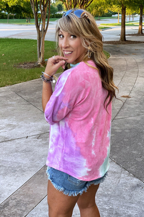 Adore Me Tie Dye Top with V Cut Out Detail and 1/2 length Short Sleeves, Pink / Purple / Jade S-XL