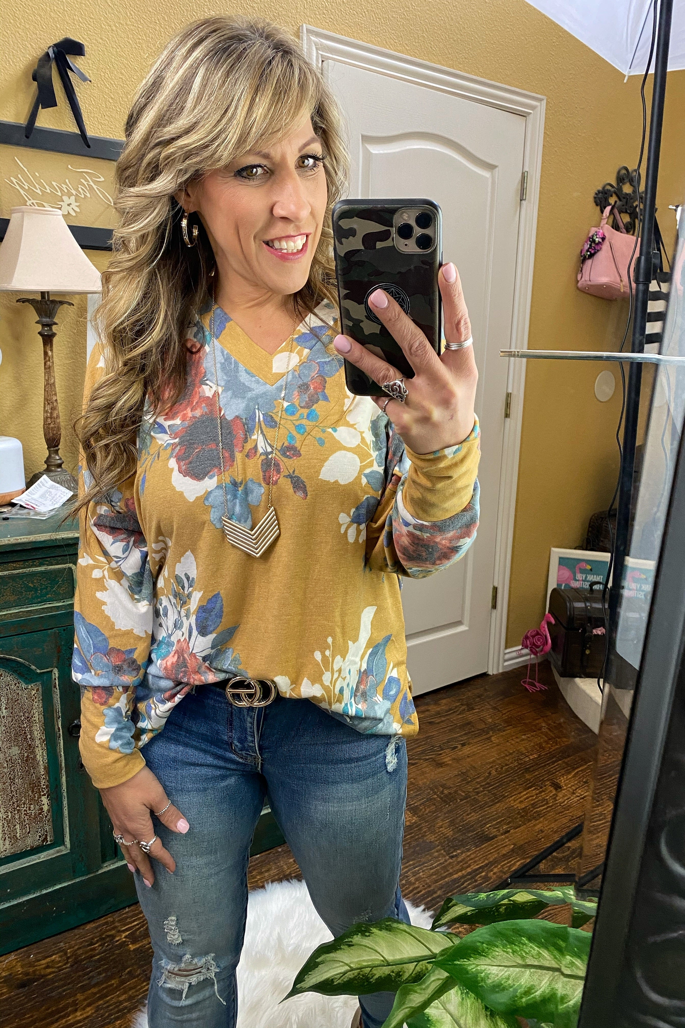 China Grove Long Sleeve Floral Print Knit Top with V-Neckline and Hi-Lo Split Hemline, Mustard