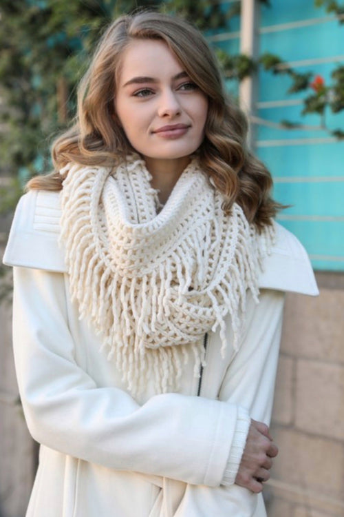 Lattice Knit Tassel Infinity Scarf, Cream