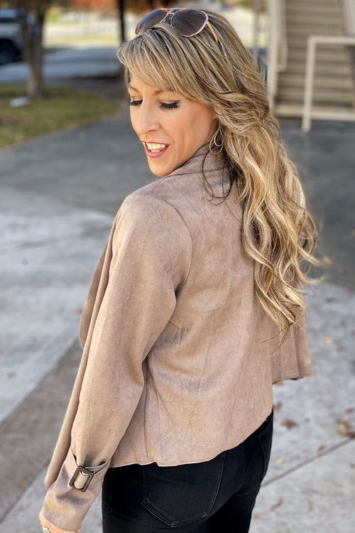 This Could Be Love Faux Suede Jacket, Stone