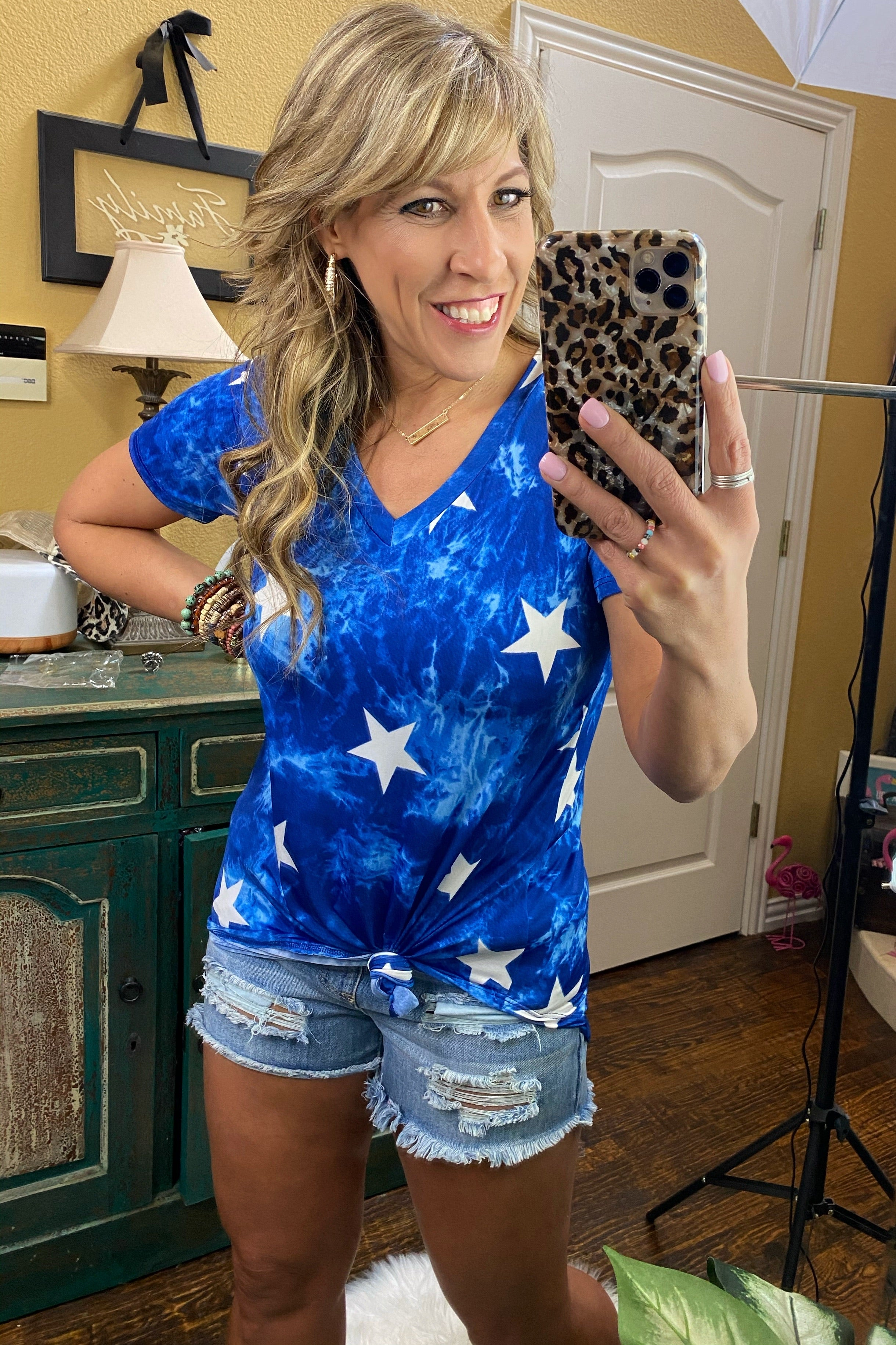 Baby You're A Star V Neck Blue Tie Dye & Star Top with Rounded Hem